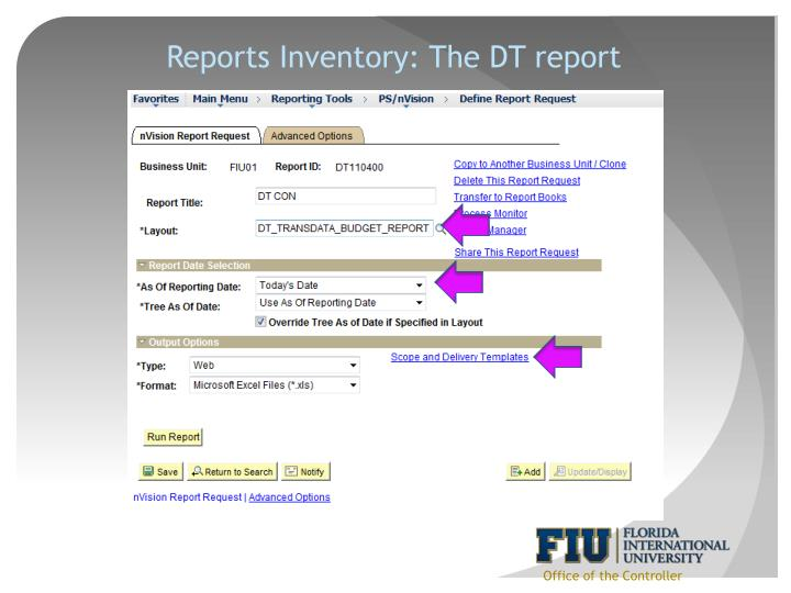 Reports Inventory: The DT report