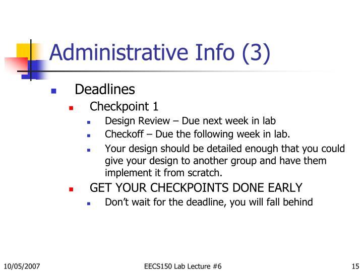 Administrative Info (3)