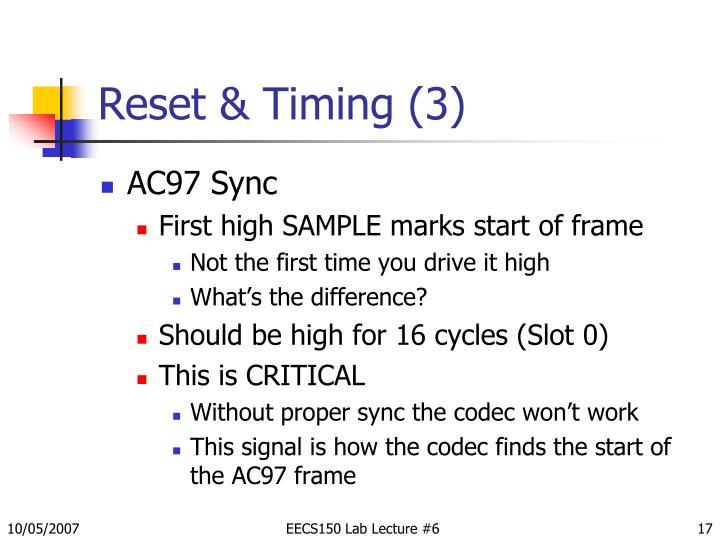Reset & Timing (3)