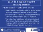 2014 15 budget blueprint ensuring stability
