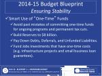 2014 15 budget blueprint ensuring stability2