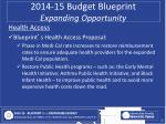 2014 15 budget blueprint expanding opportunity8