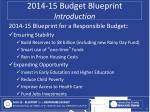 2014 15 budget blueprint introduction3