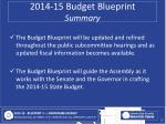 2014 15 budget blueprint summary