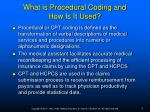 what is procedural coding and how is it used