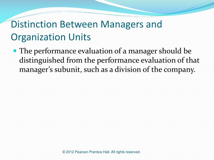 Distinction Between Managers and Organization Units