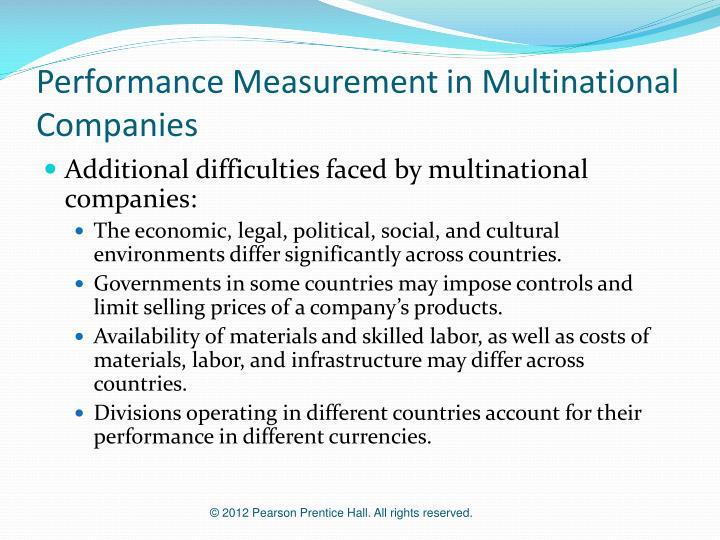 Performance Measurement in Multinational Companies