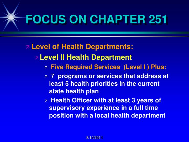FOCUS ON CHAPTER 251