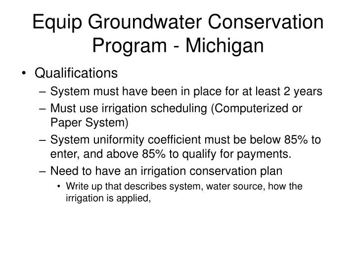 Equip Groundwater Conservation Program - Michigan