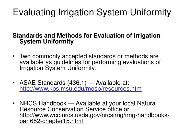 Evaluating Irrigation System Uniformity