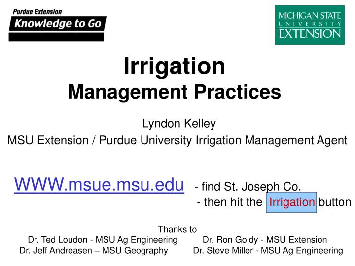 Irrigation management practices