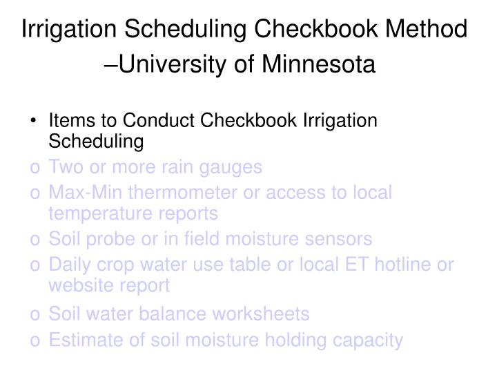 Irrigation Scheduling Checkbook Method