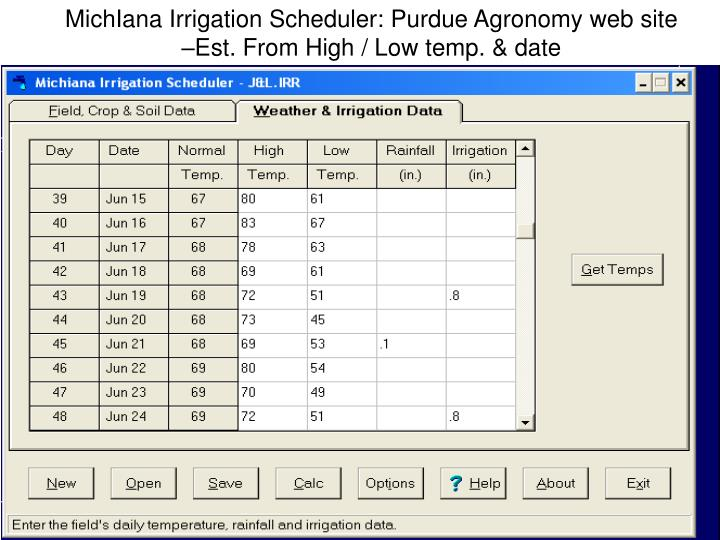 MichIana Irrigation Scheduler: Purdue Agronomy web site