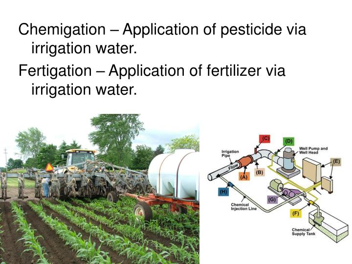 Chemigation – Application of pesticide via irrigation water.