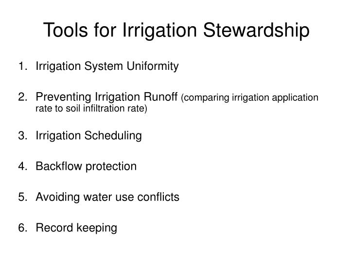 Tools for irrigation stewardship