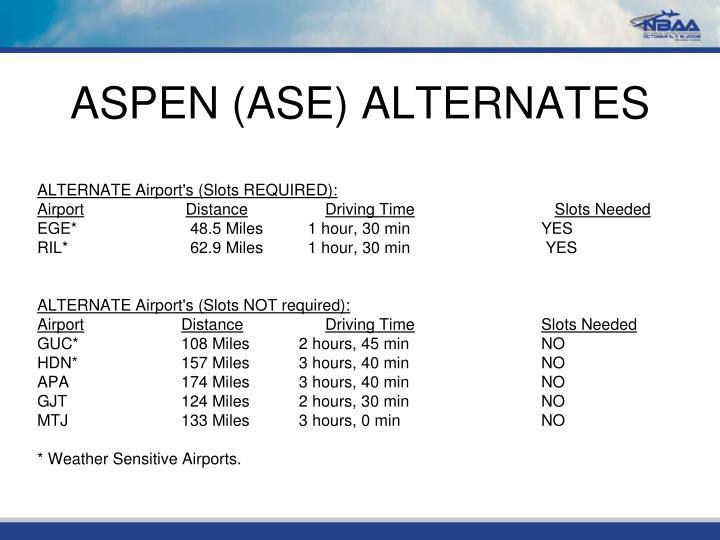 ASPEN (ASE) ALTERNATES