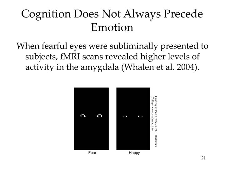 Cognition Does Not Always Precede Emotion