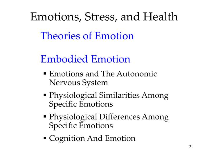 Emotions stress and health
