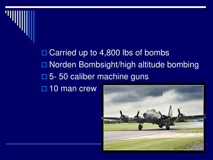 Carried up to 4,800 lbs of bombs