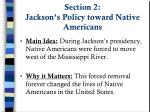 section 2 jackson s policy toward native americans