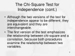 the chi square test for independence cont