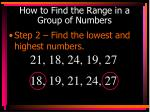 how to find the range in a group of numbers1