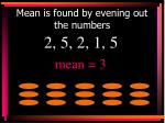 mean is found by evening out the numbers2