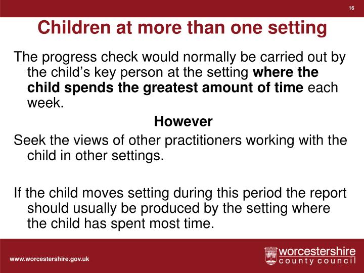 Children at more than one setting