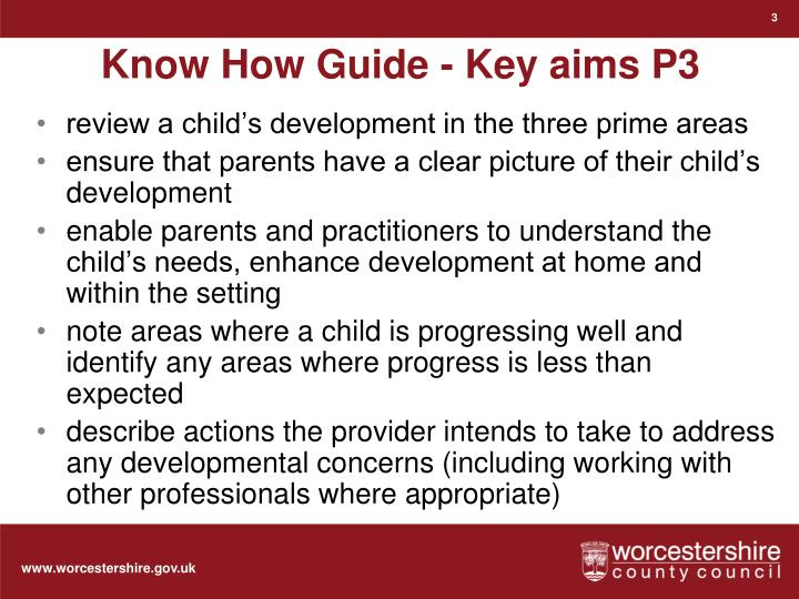 Know how guide key aims p3