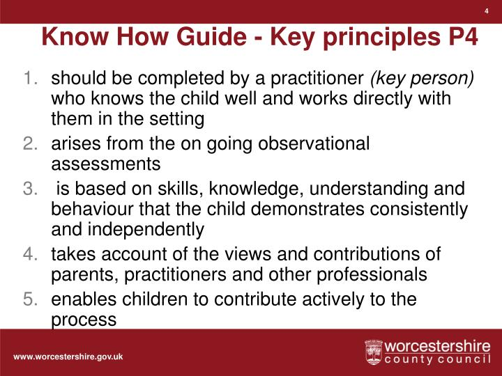 Know How Guide - Key principles P4