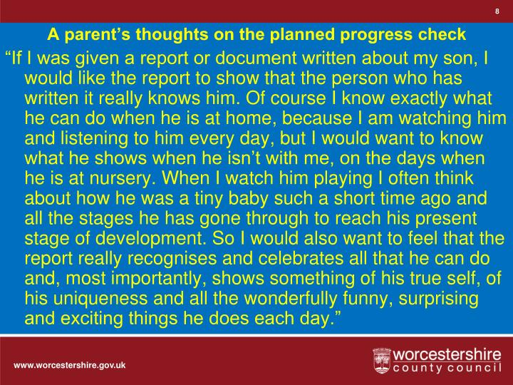 A parent's thoughts on the planned progress check