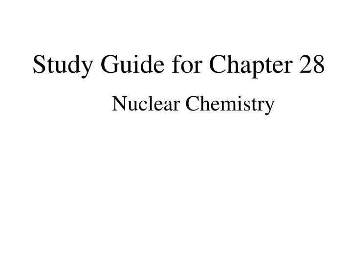 Study guide for chapter 28