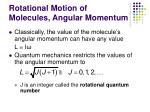 rotational motion of molecules angular momentum