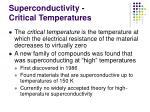 superconductivity critical temperatures