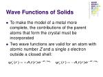 wave functions of solids
