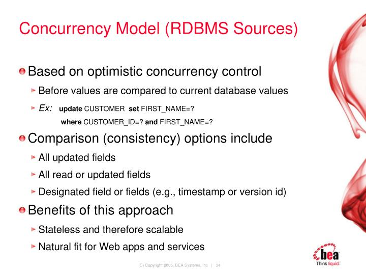 Concurrency Model (RDBMS Sources)