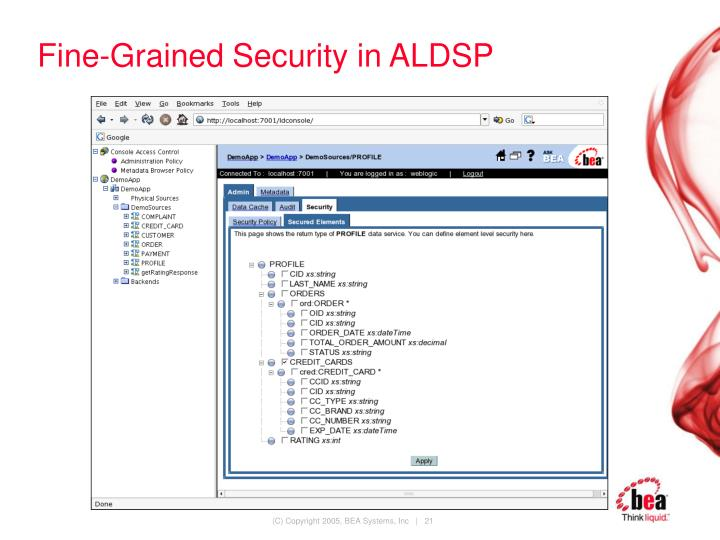 Fine-Grained Security in ALDSP