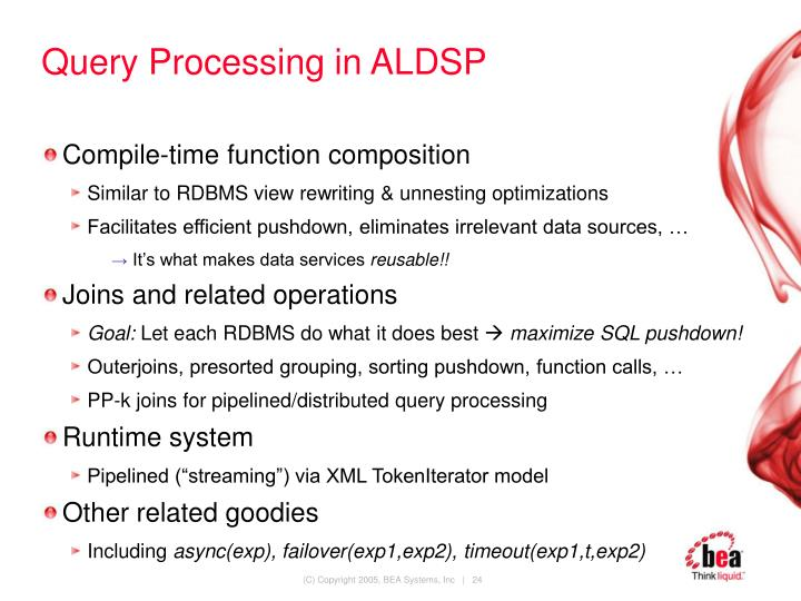 Query Processing in ALDSP