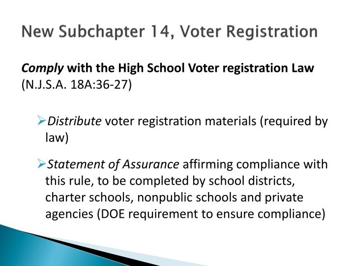 New Subchapter 14, Voter Registration