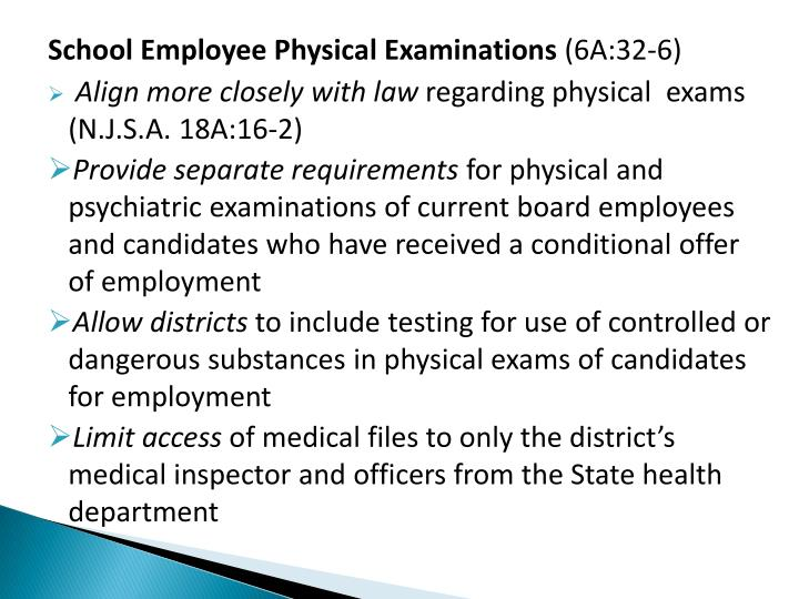 School Employee Physical Examinations