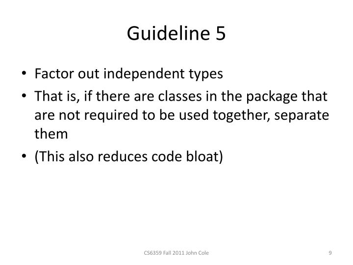 Guideline 5