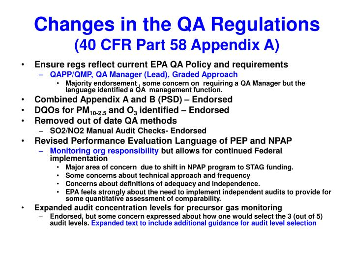 Changes in the QA Regulations