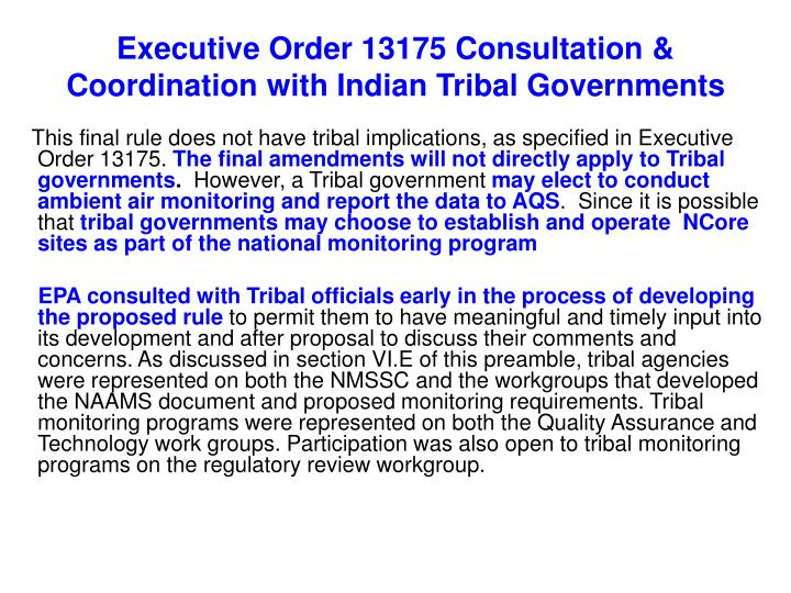 Executive Order 13175 Consultation & Coordination with Indian Tribal Governments