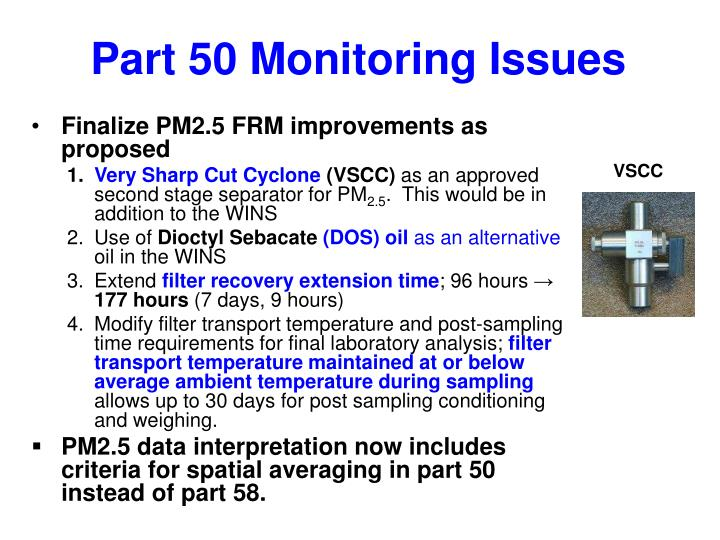 Part 50 Monitoring Issues
