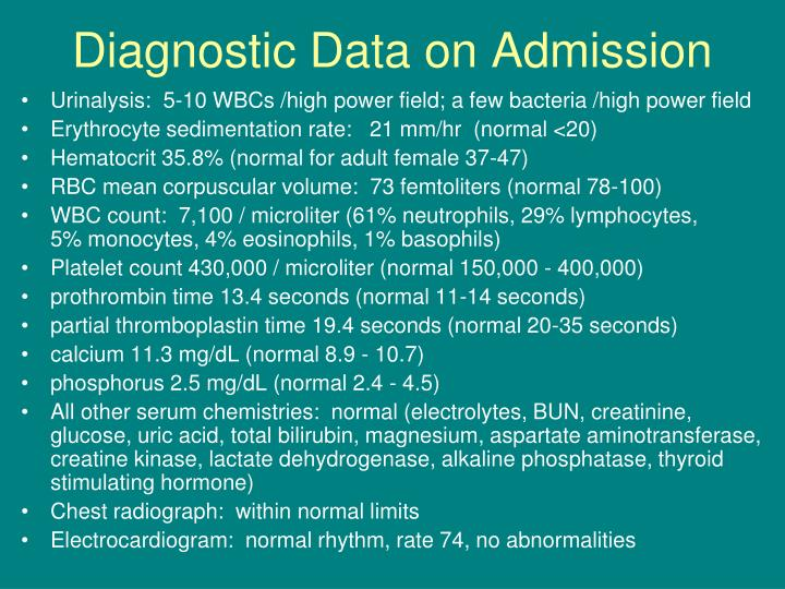 Diagnostic Data on Admission