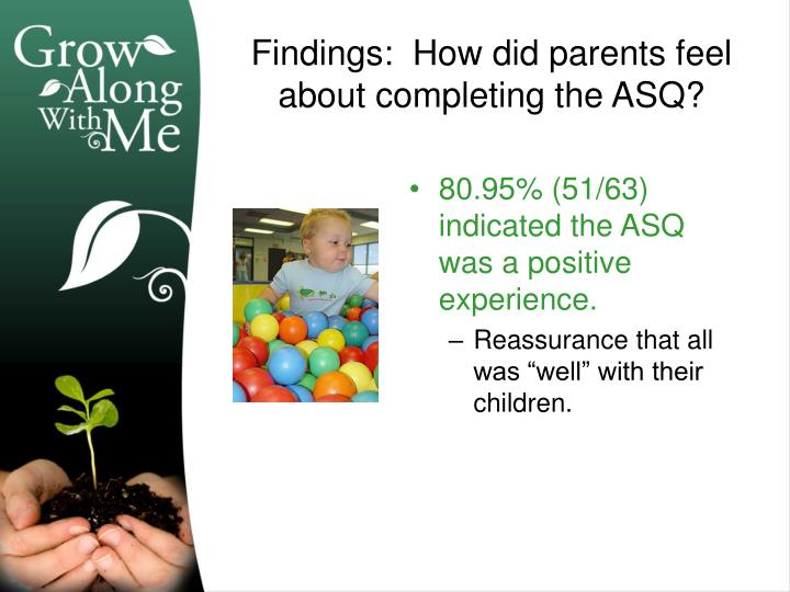 80.95% (51/63) indicated the ASQ was a positive experience.