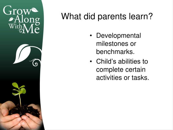 Developmental milestones or benchmarks.