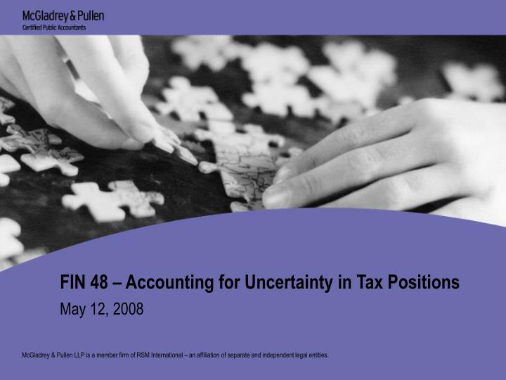 fin 48 accounting for uncertainty in tax positions n.