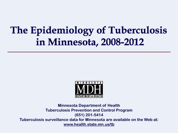 the epidemiology of tuberculosis