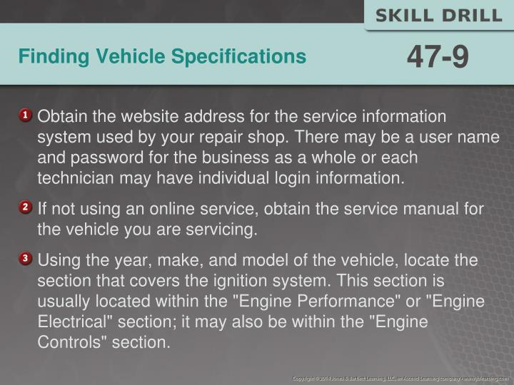 Finding Vehicle Specifications